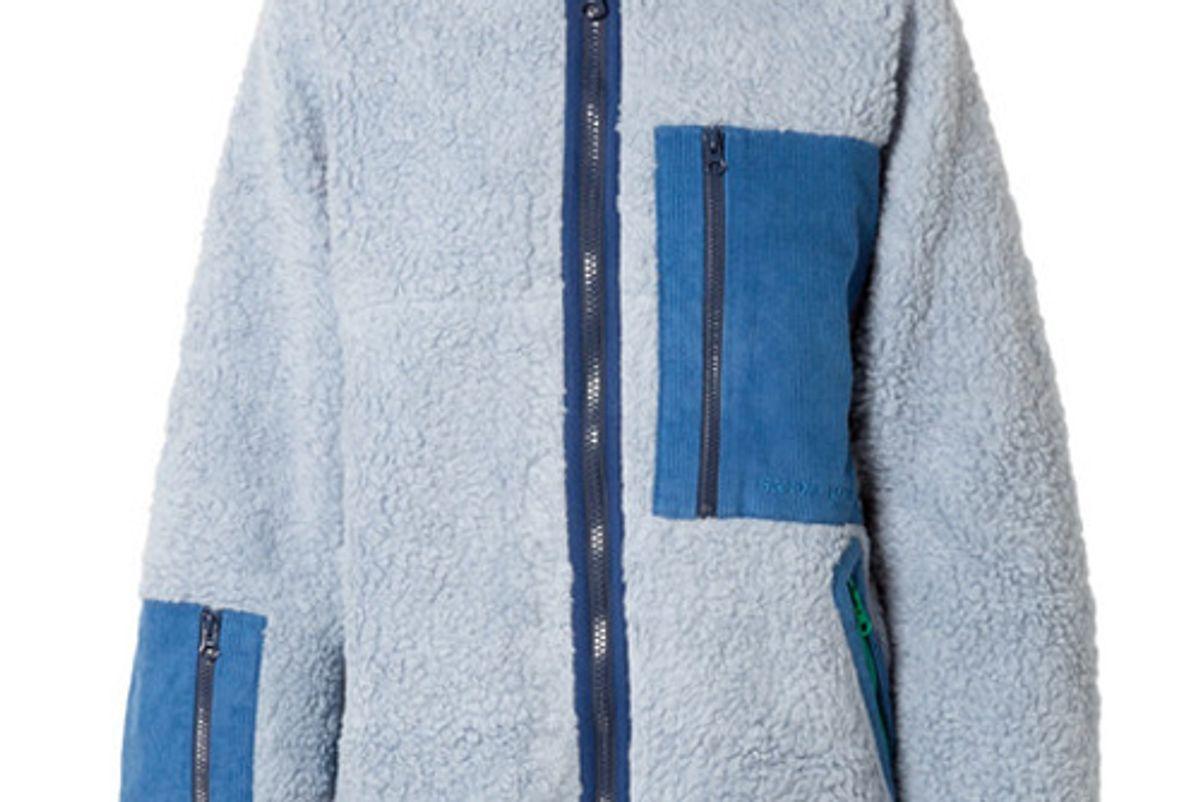 sandy liang corduroy paneled fleece jacket