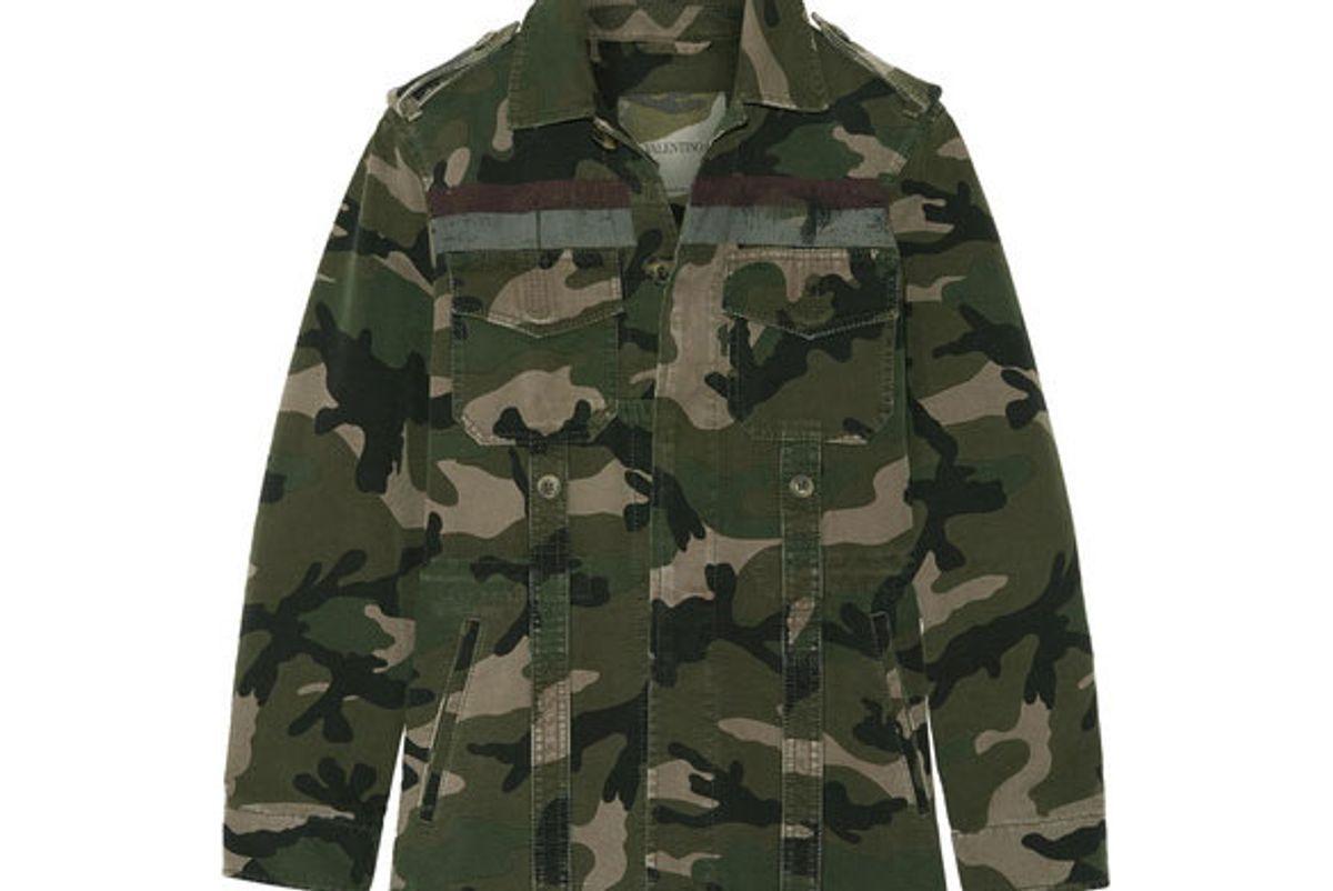 valentino striped camouflage print cotton gabardine jacket