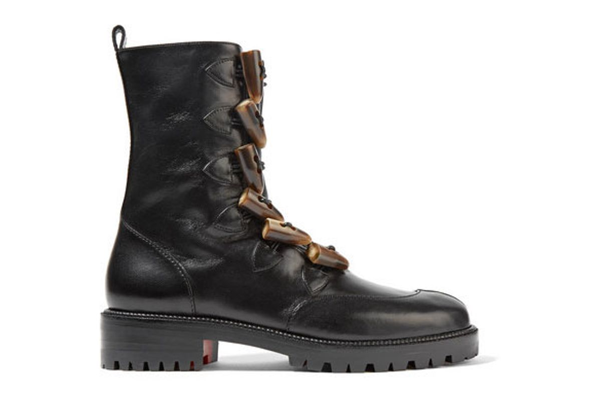 christian louboutin kloster shearling lined leather boots