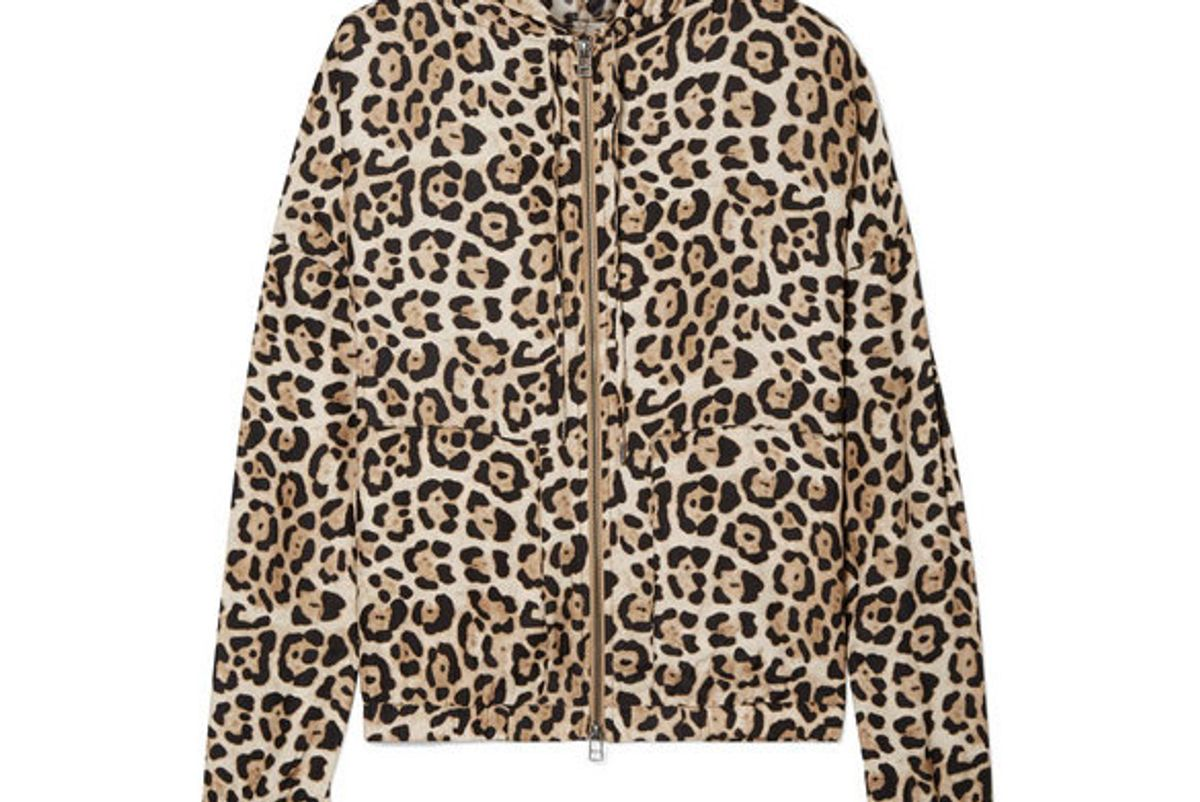 atm anthony thomas melillo hooded jleopard print silk charmeuse jacket