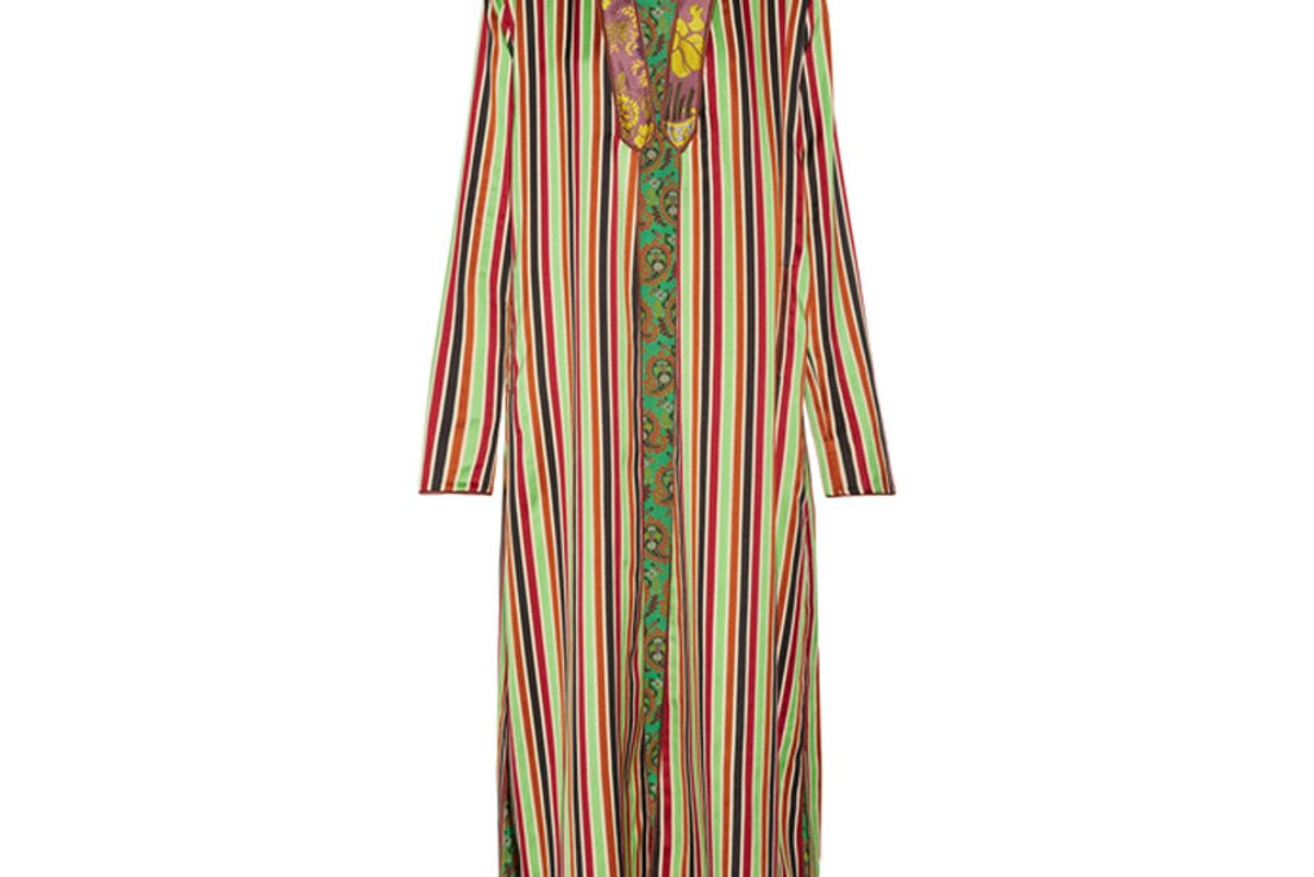 Jacquard-Trimmed Striped Cotton and Silk-Blend Jacket