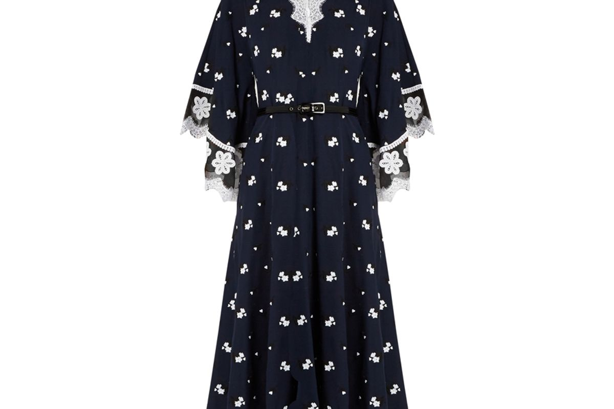 Floral-Embroidered Silk and Cotton-Blend Dress