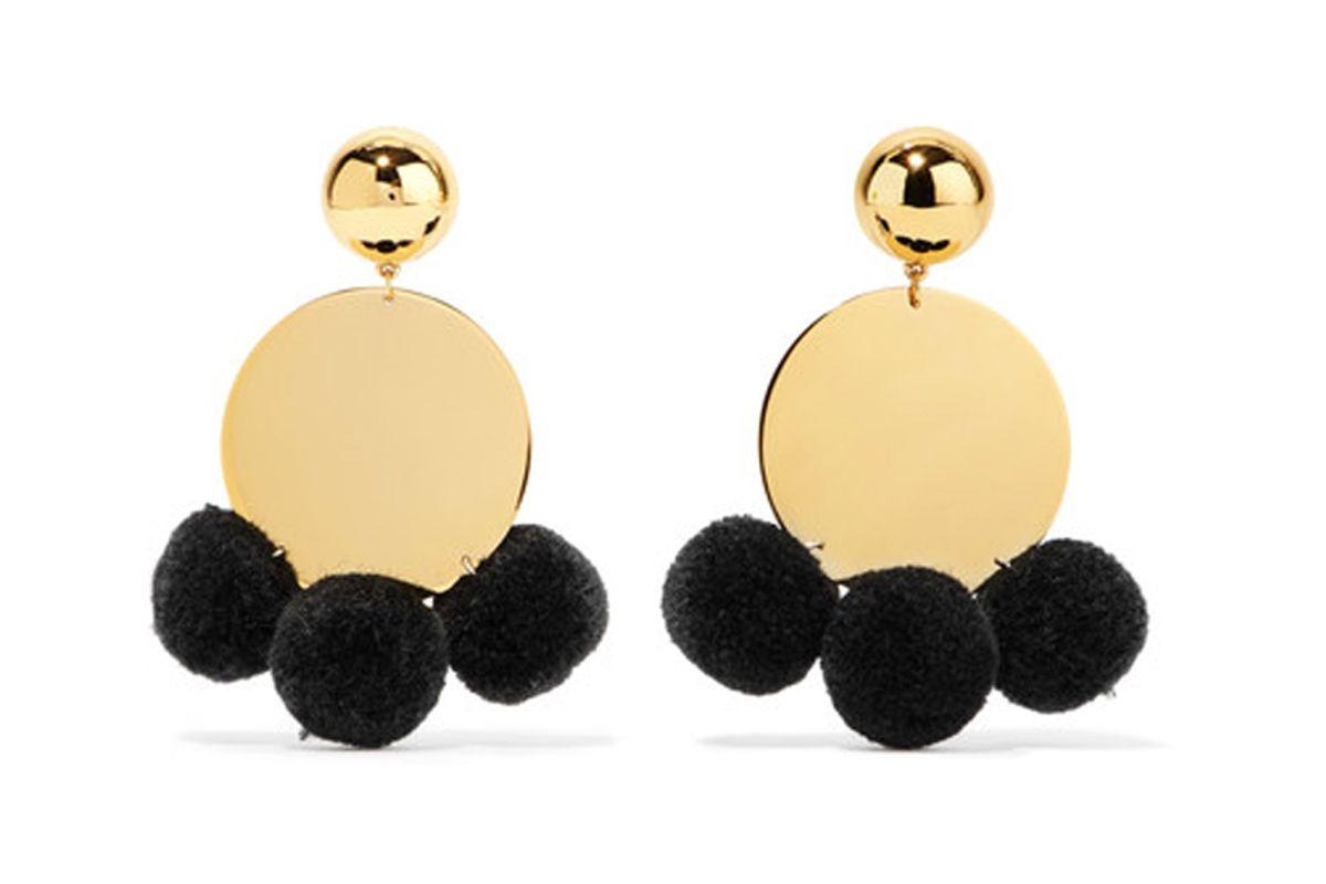 Stevie Pompom-Embellished Gold-Plated Earrings