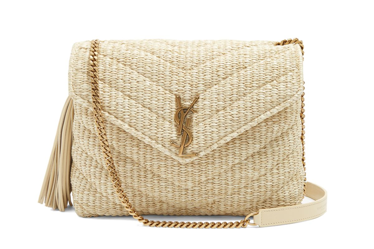Monogram Small Quilted-Raffia Cross-Body Bag