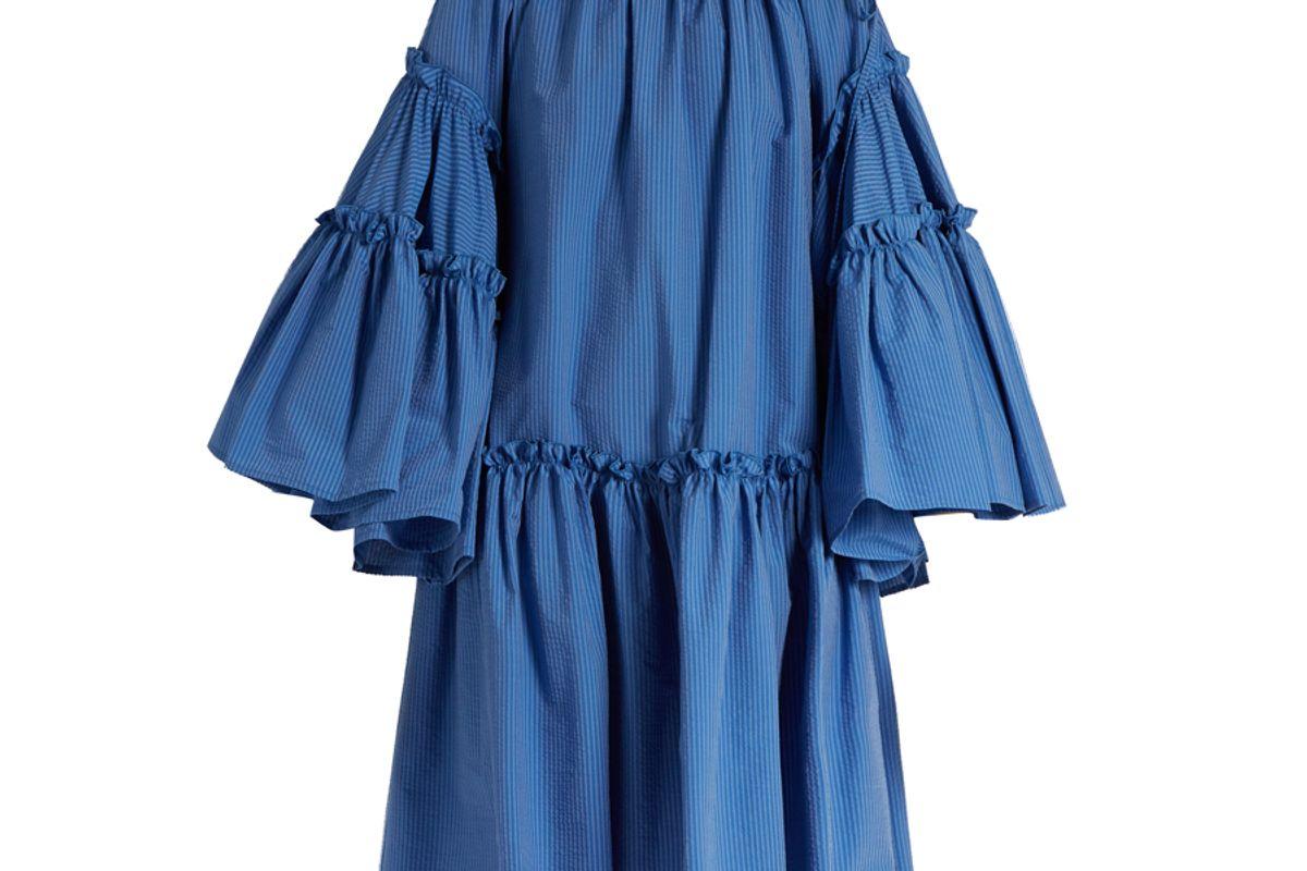 Ruffle-Sleeved Striped-Seersucker Dress
