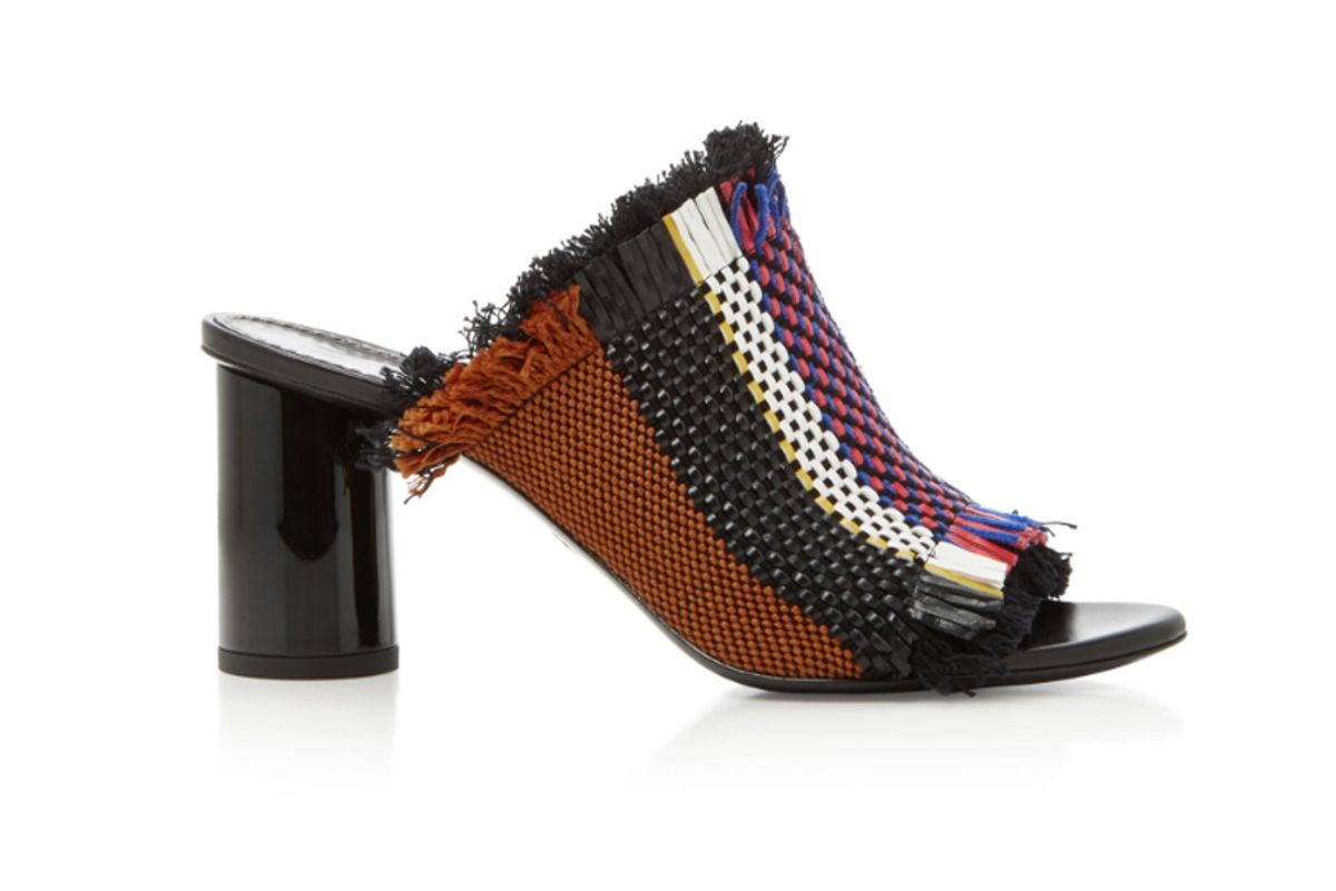 Woven Faux Leather Mules