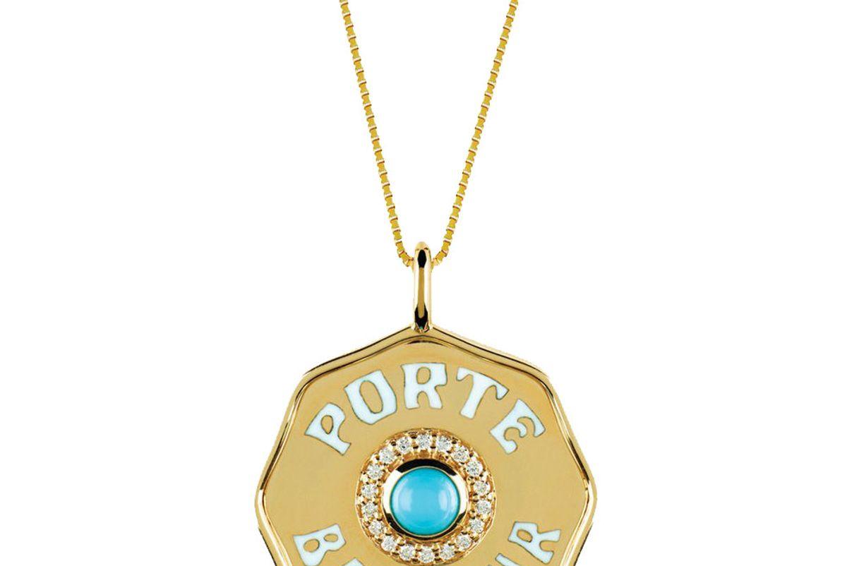 marlo enamel porte bonheur coin necklace
