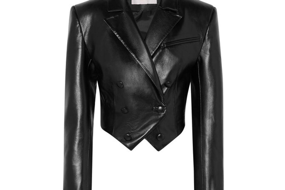 materiel cropped faux leather blazer