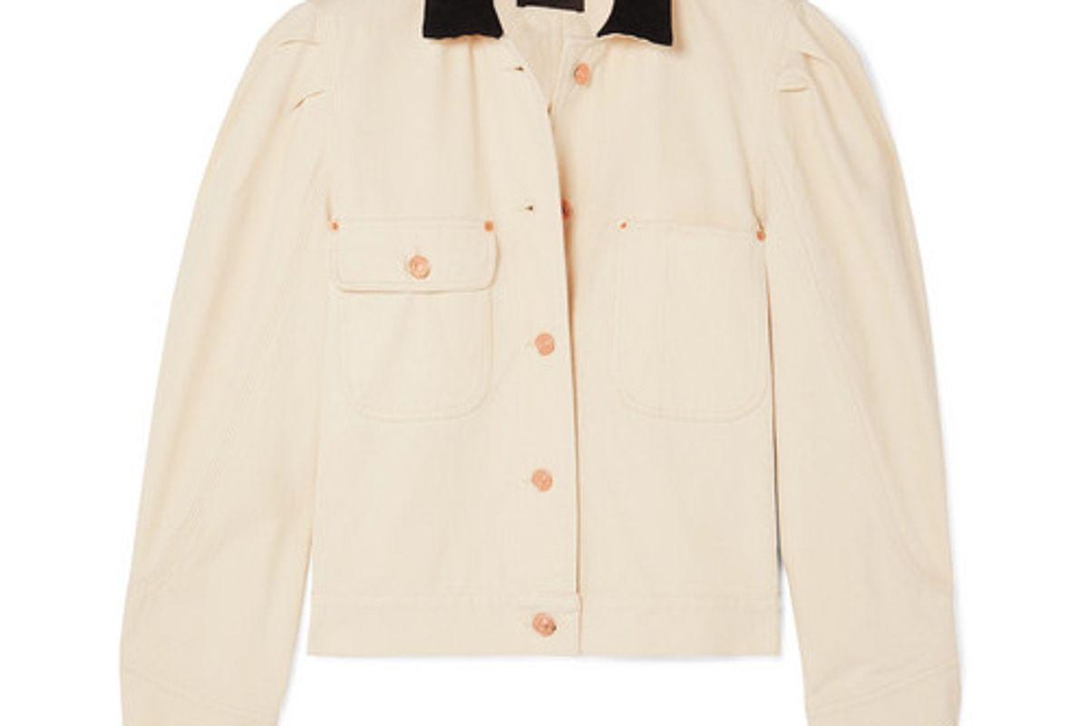isabel marant iolana corduroy trimmed denim jacket