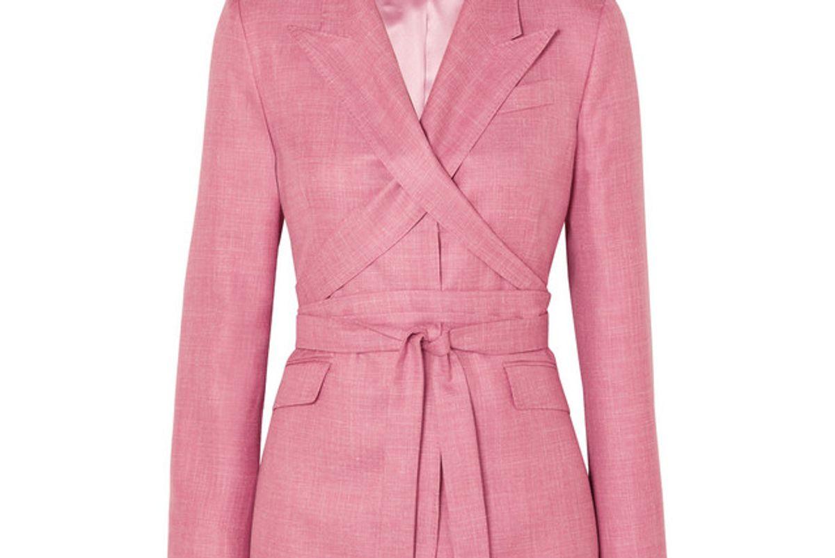 gabriela hearst nutter belted wool silk and linen blend blazer
