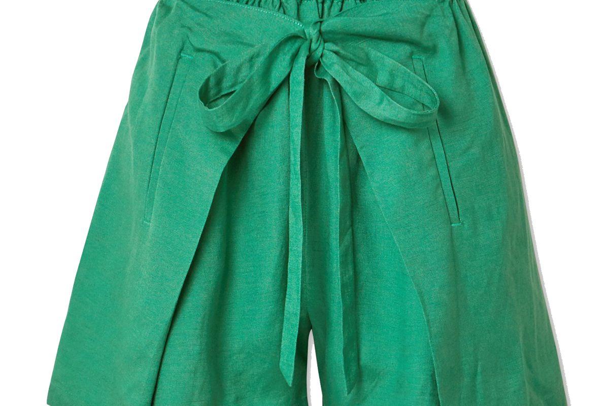 cult gaia campbell tie front linen shorts