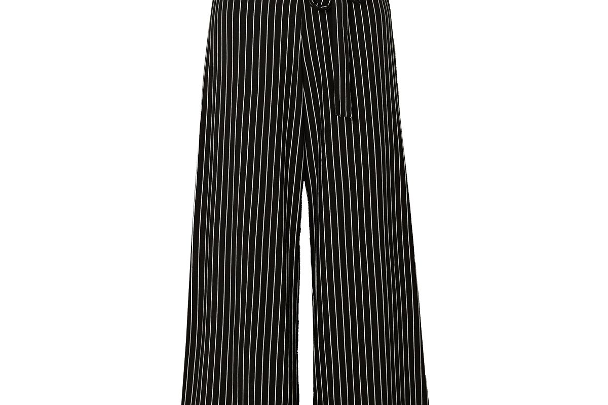 leset amber belted pinstriped stretch jersey wide leg pants