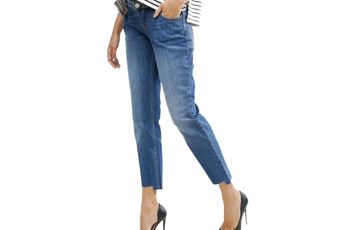 Kimmi Shrunken Boyfriend Jeans in Blake Vintage Darkwash and Stepped Hem with Over the Bump Waistband