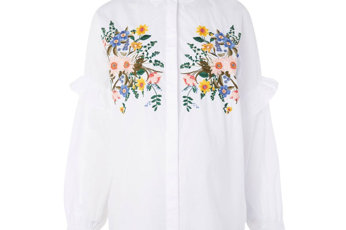 Maternity Forest Floral Embroidered Shirt