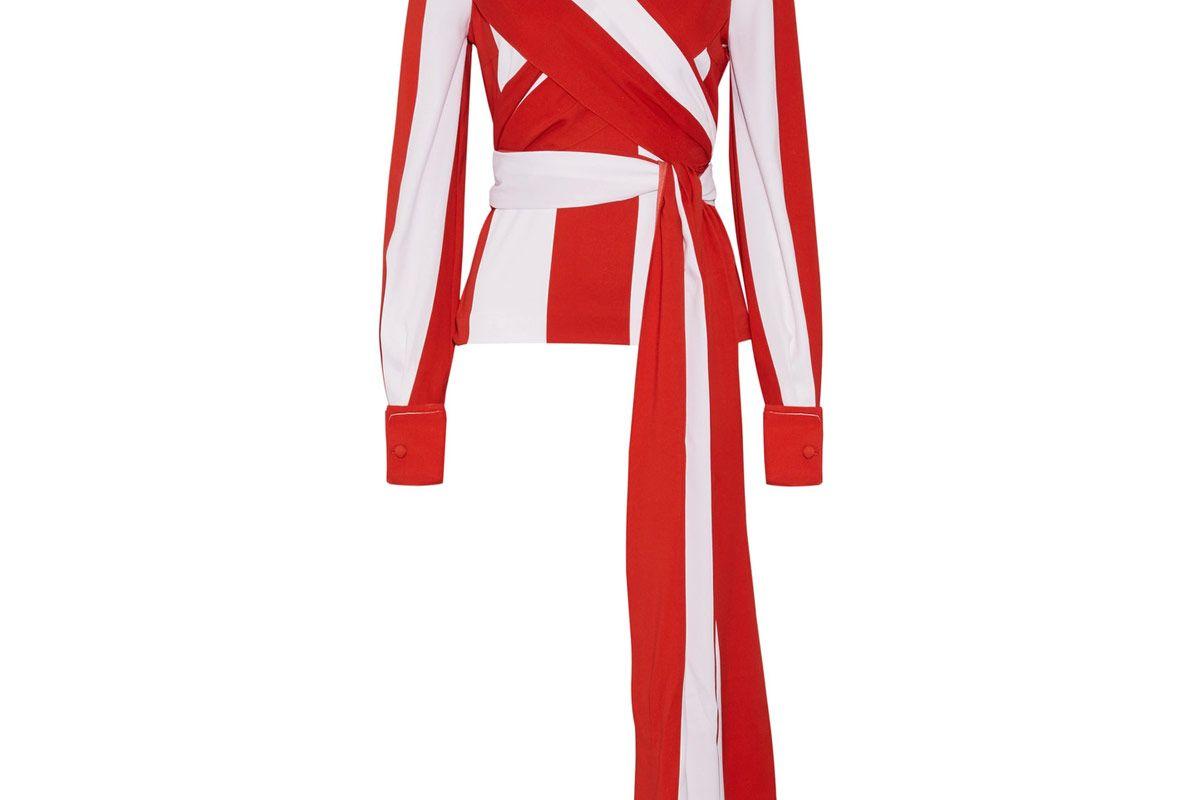 Wrap-Effect Striped Stretch-Silk Top