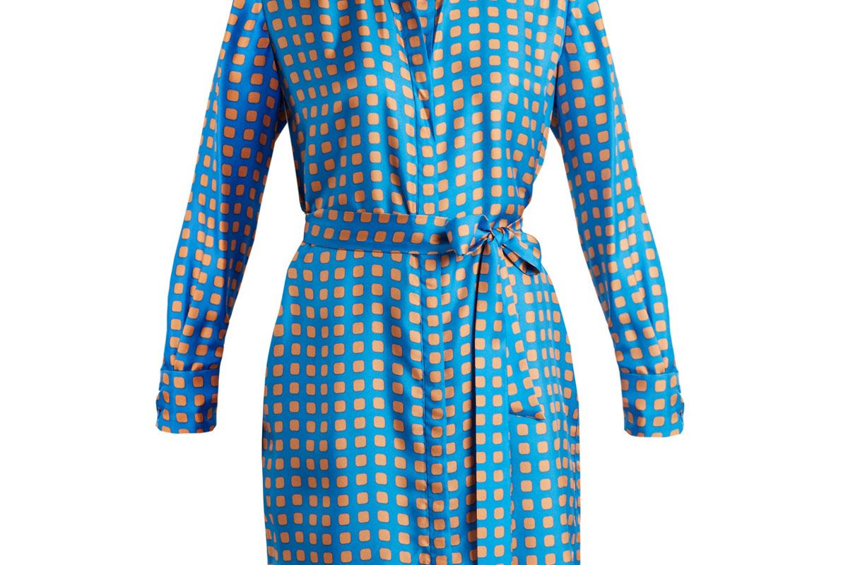 Square-Print Silk Dress