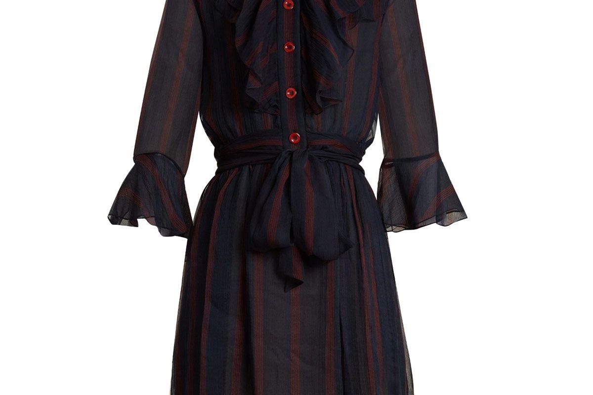 Ruffle-Trimmed Striped Silk-Georgette Dress