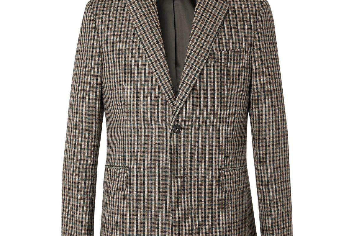 acne studios brown jason checked wool blend blazer