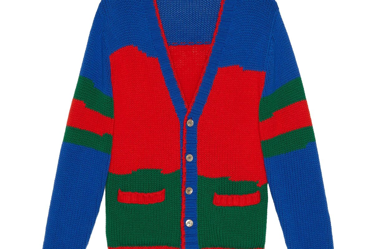gucci oversized striped wool cardigan