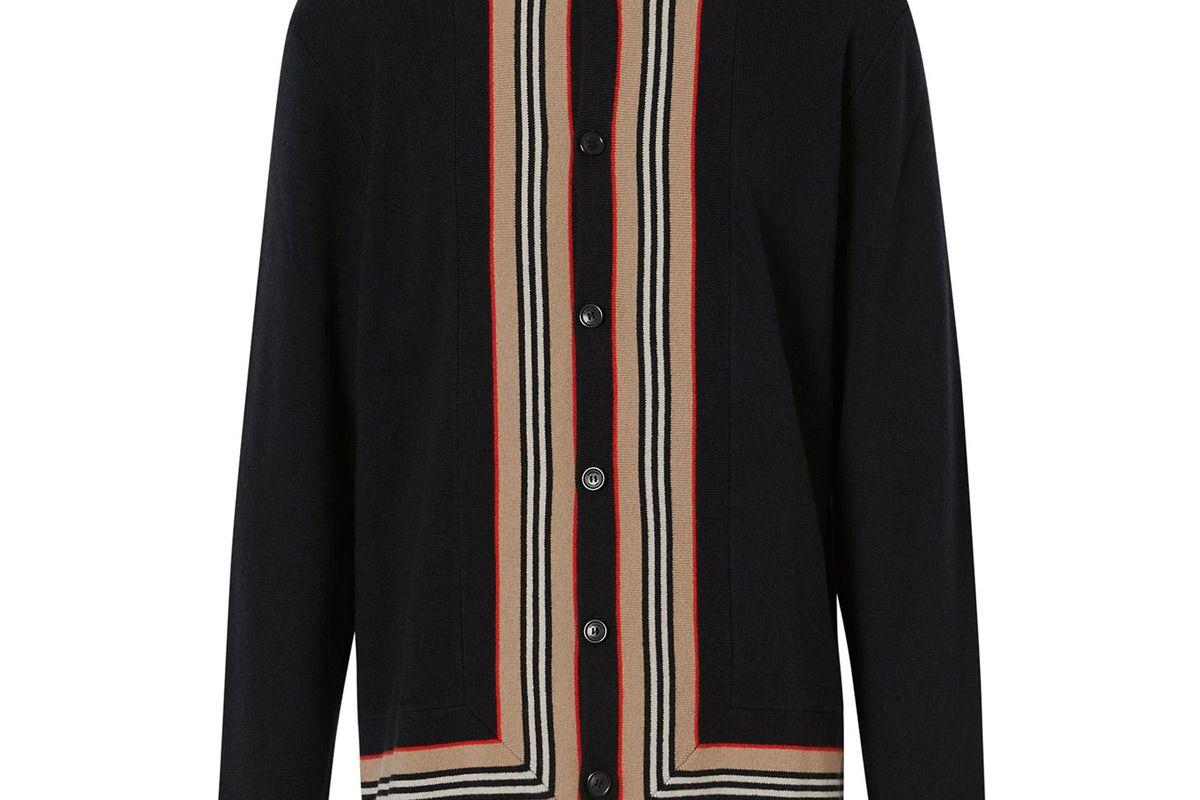 burberry mens cahsmere blend stripe trim cardigan