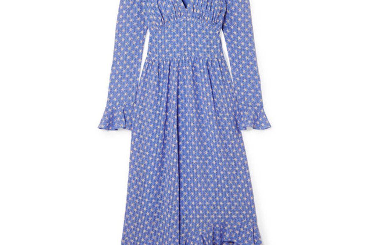stine goya freesia ruffled printed voile midi dress