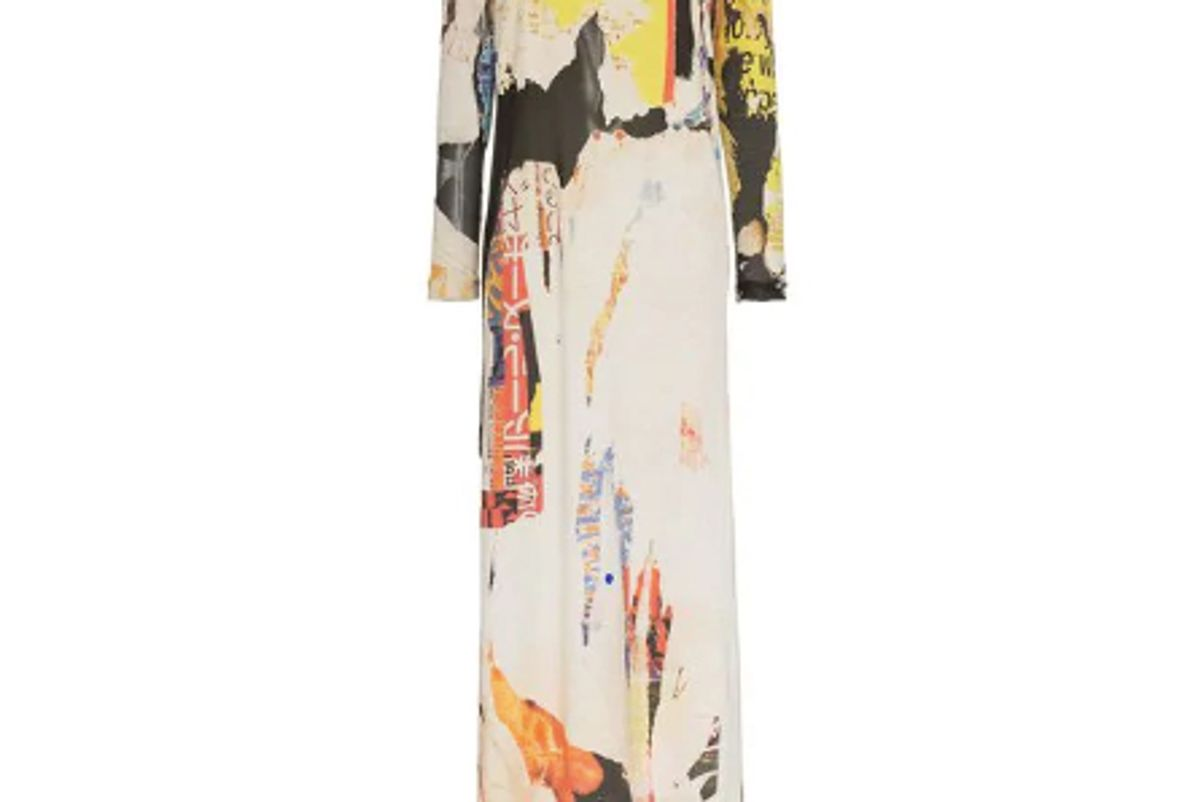 marquesal meida poster print cotton blend maxi dress shop