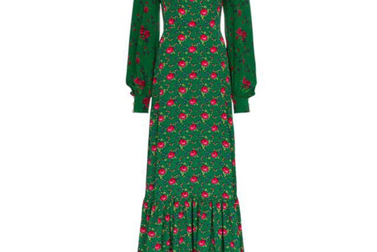 the vampires wife festival floral jacquard ruffle trim dress