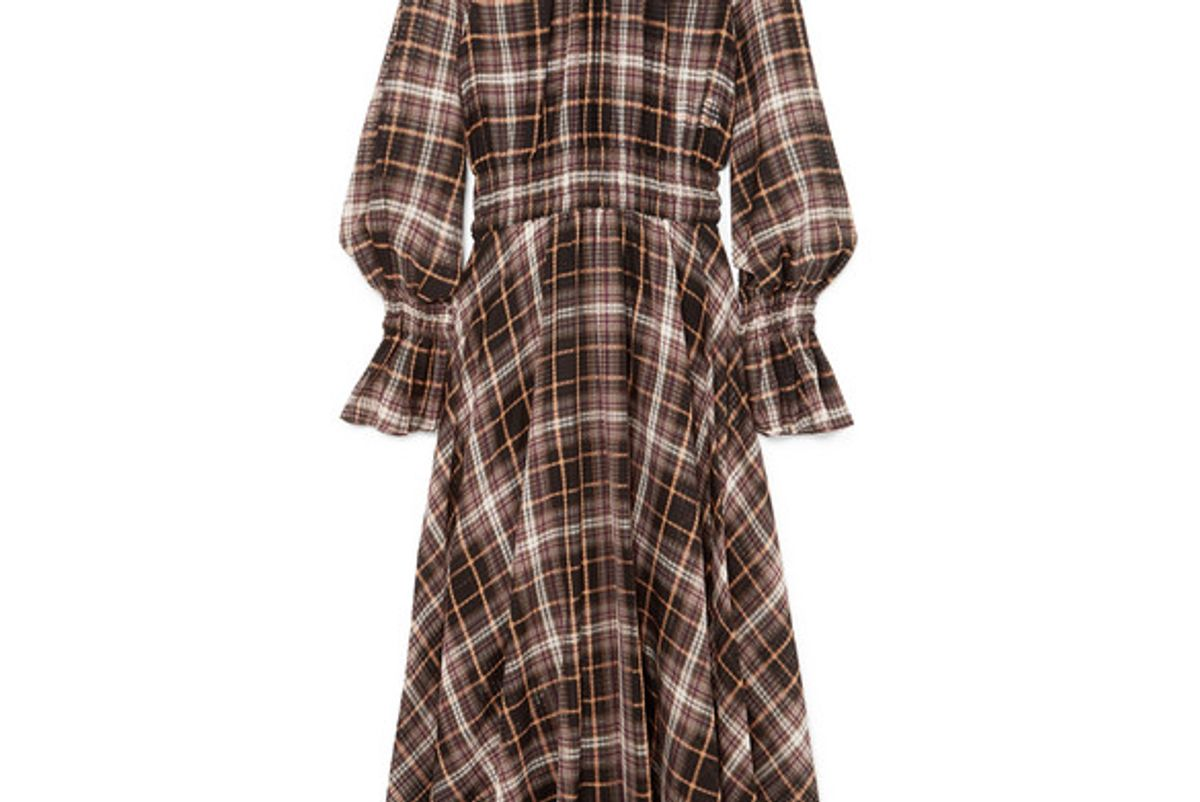 beaufille shirred checked cotton and silk blend maxi dress