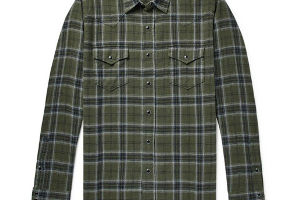 saint laurent distressed checked cotton flannel shirt