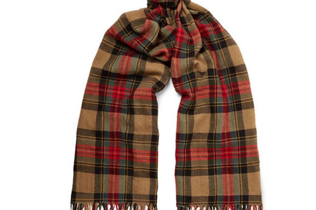 dries van noten fringed checked wool snd cotton blend scarf