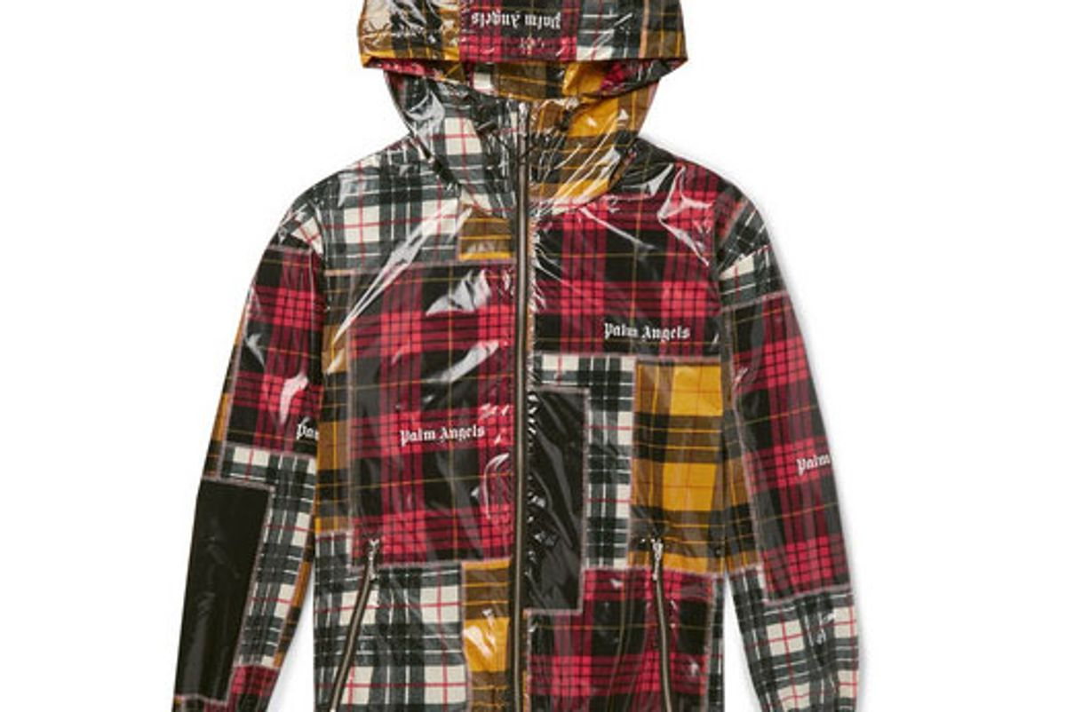 palm angels logo print checked coated shell jacket