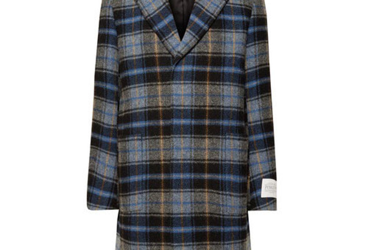 calvin klein 205w39nyc pendleton oversized checked virgin wool overcoat