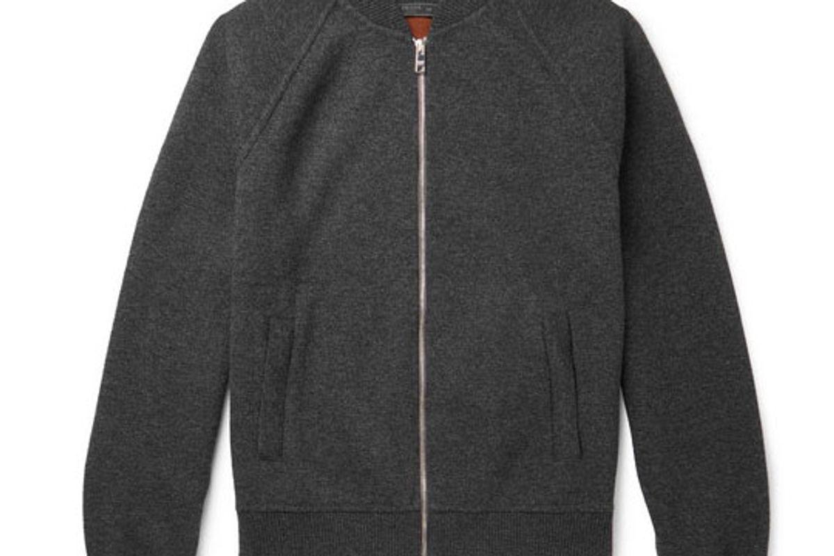 prada melange virgin wool and cashmere blend bomber jacket