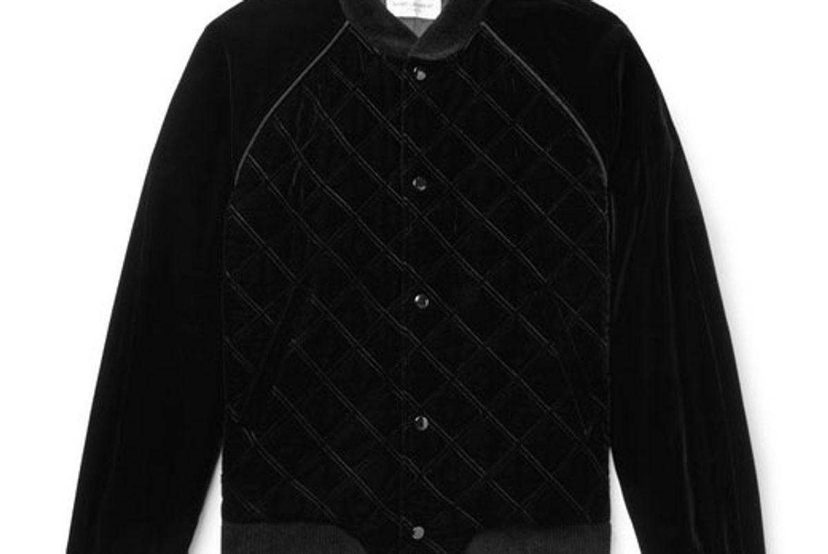 saint laurent quilted velvet bomber jacket
