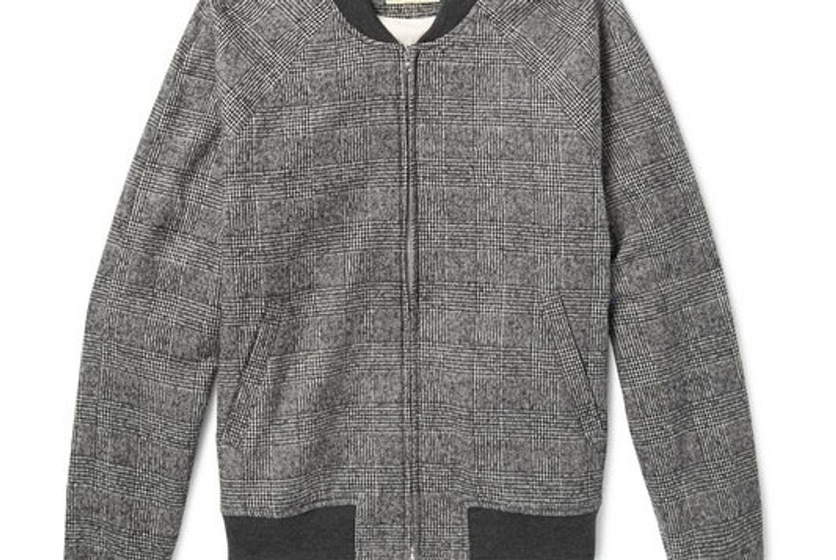 de bonne facture prince of wales checked brushed cotton and wool blend bomber jacket