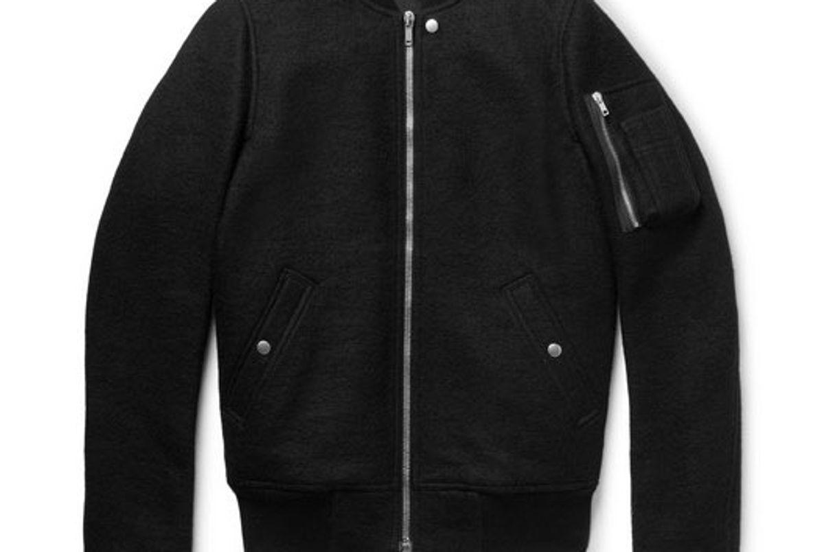 rick owens boiled virgin wool bomber jacket