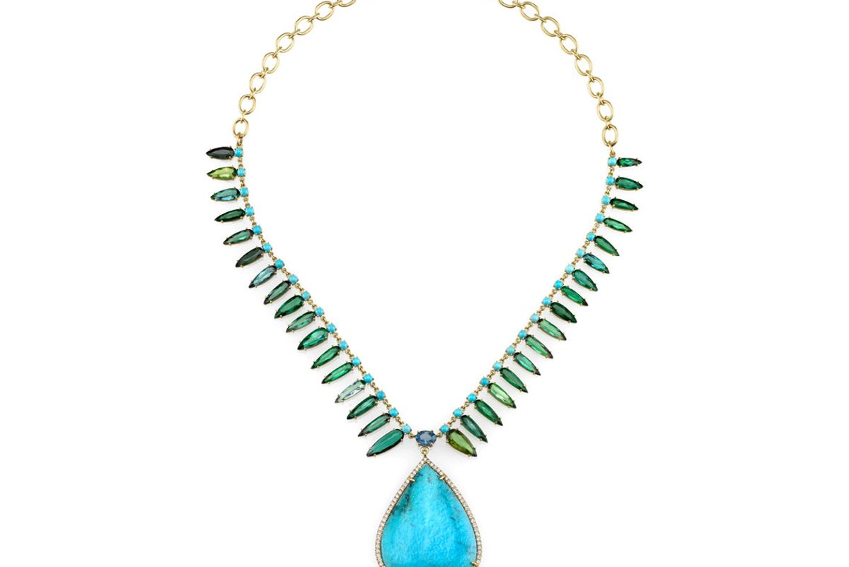 One of a Kind Necklace with Turquoise, Green Tourmaline, and Fine Aquamarine