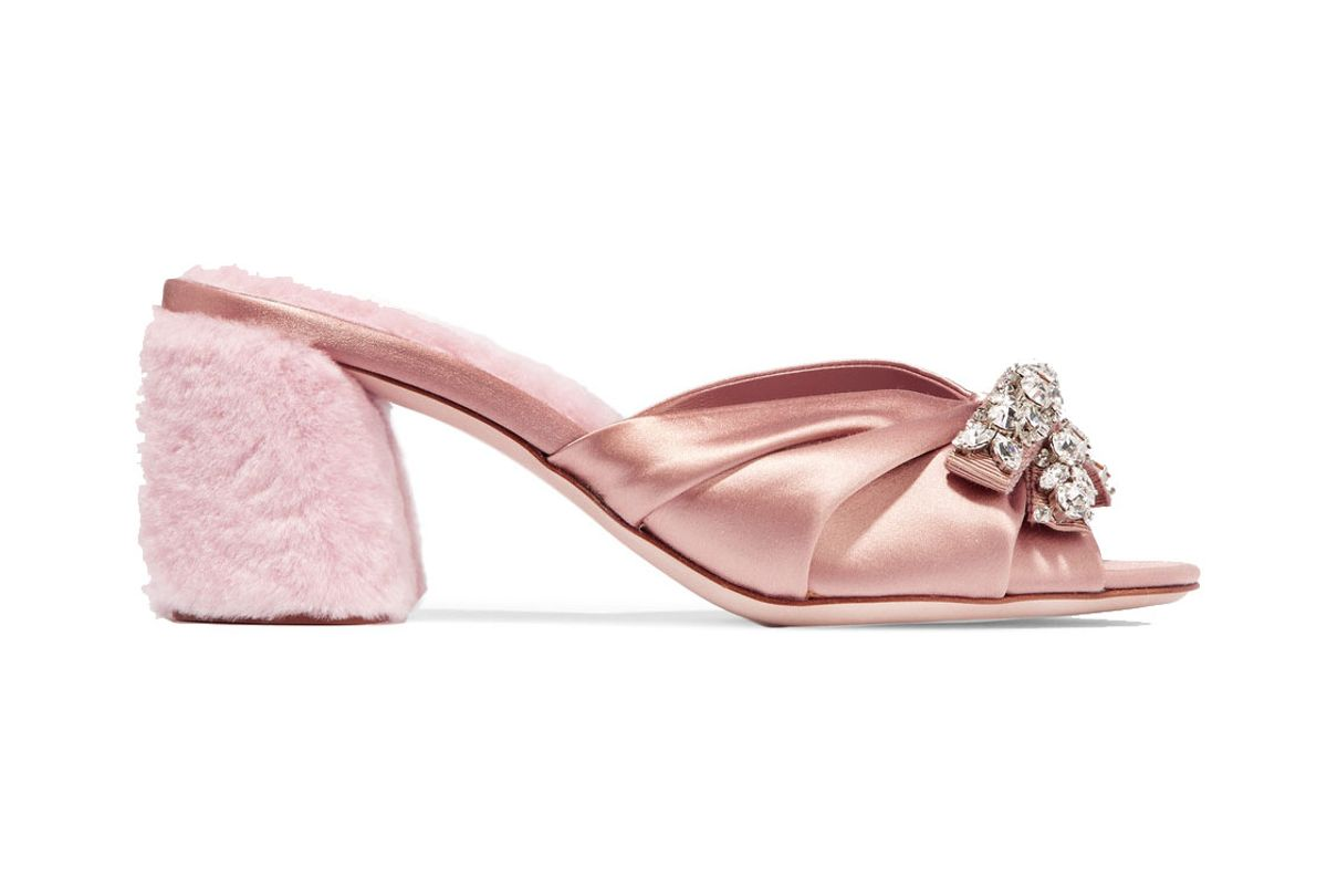 Crystal-Embellished Satin and Shearling Mules