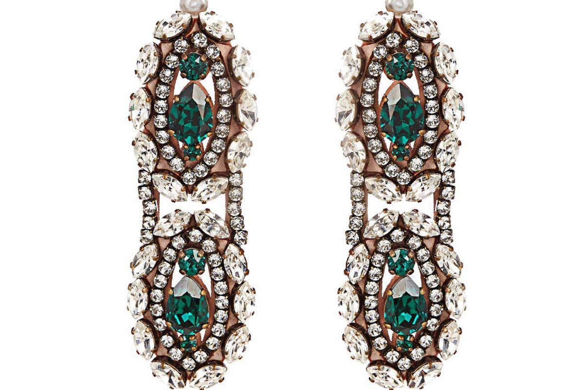 Crystal-Embellished Clip-On Drop Earrings