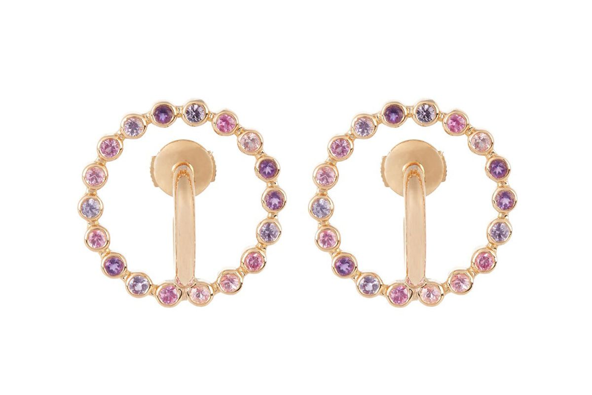 Saturn Small Sapphire, Amethyst & Gold Earrings