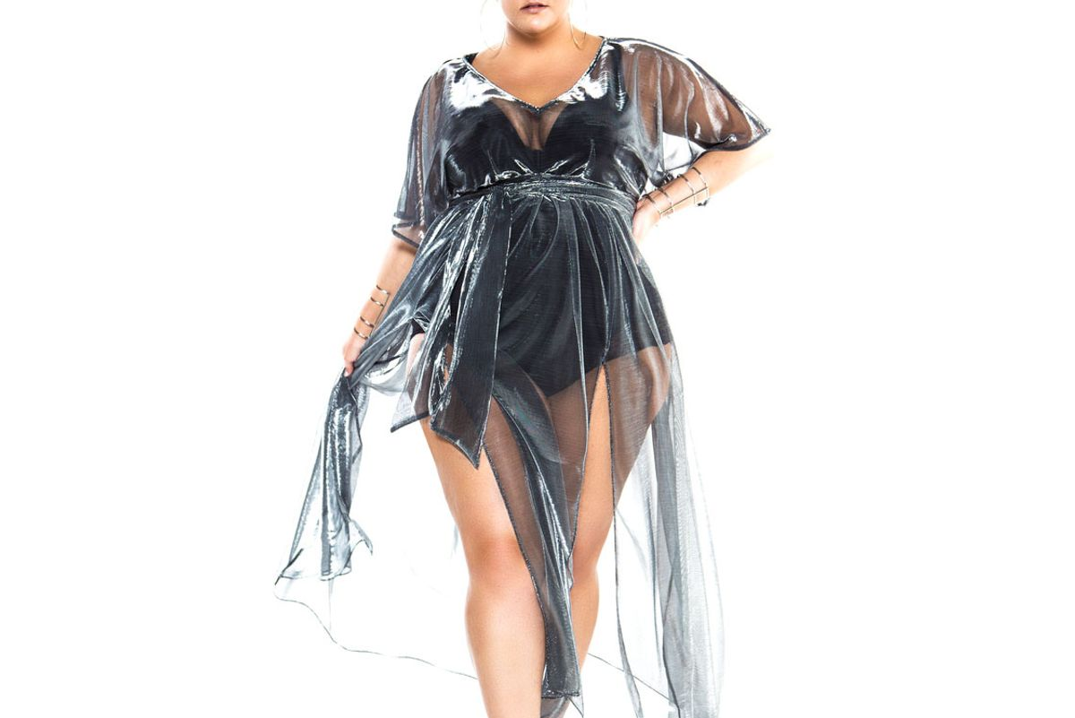 Metallic Silver Cap Sleeved Sheer Poolside Maxi Dress