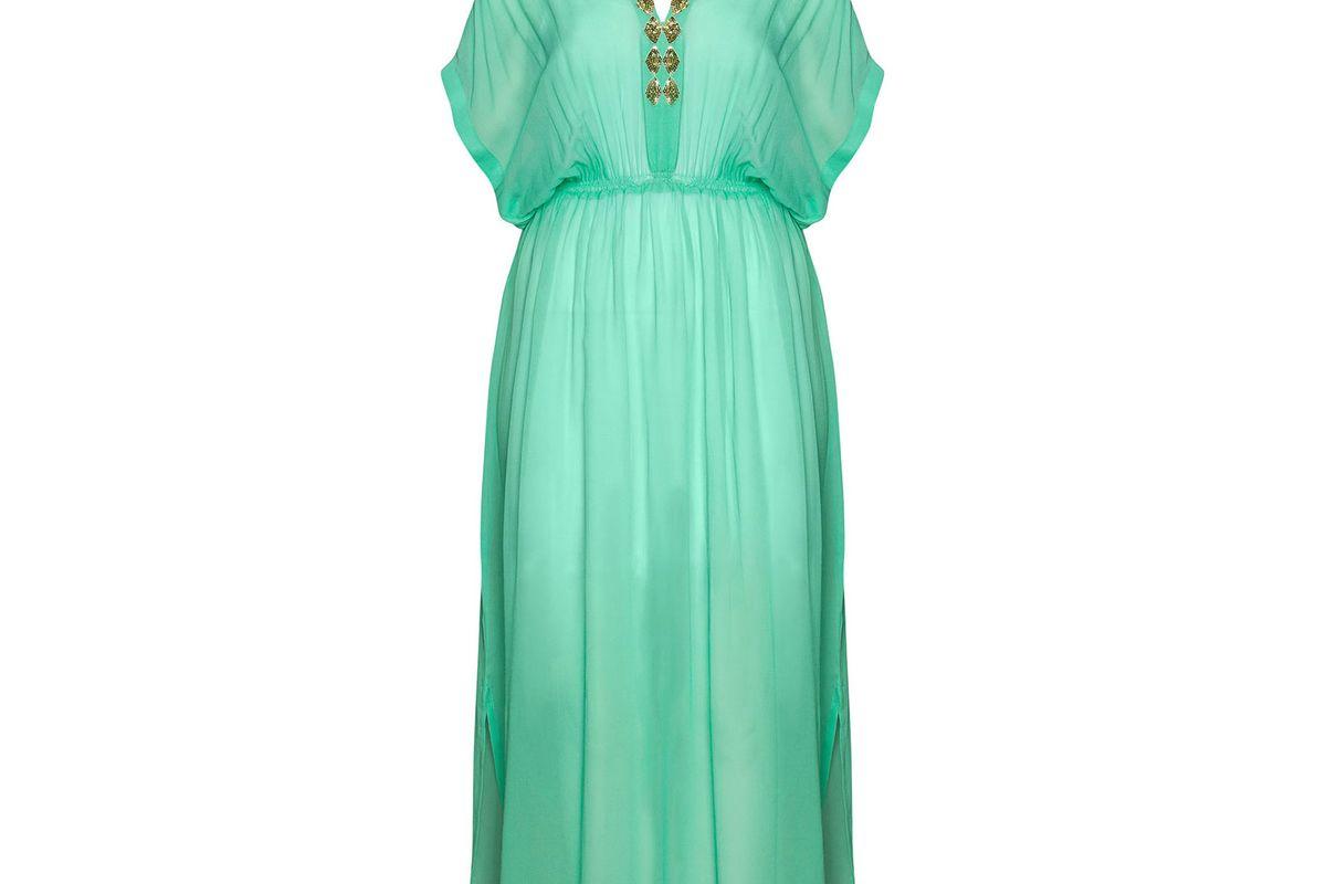 Embellished Silk Maxi Kaftan