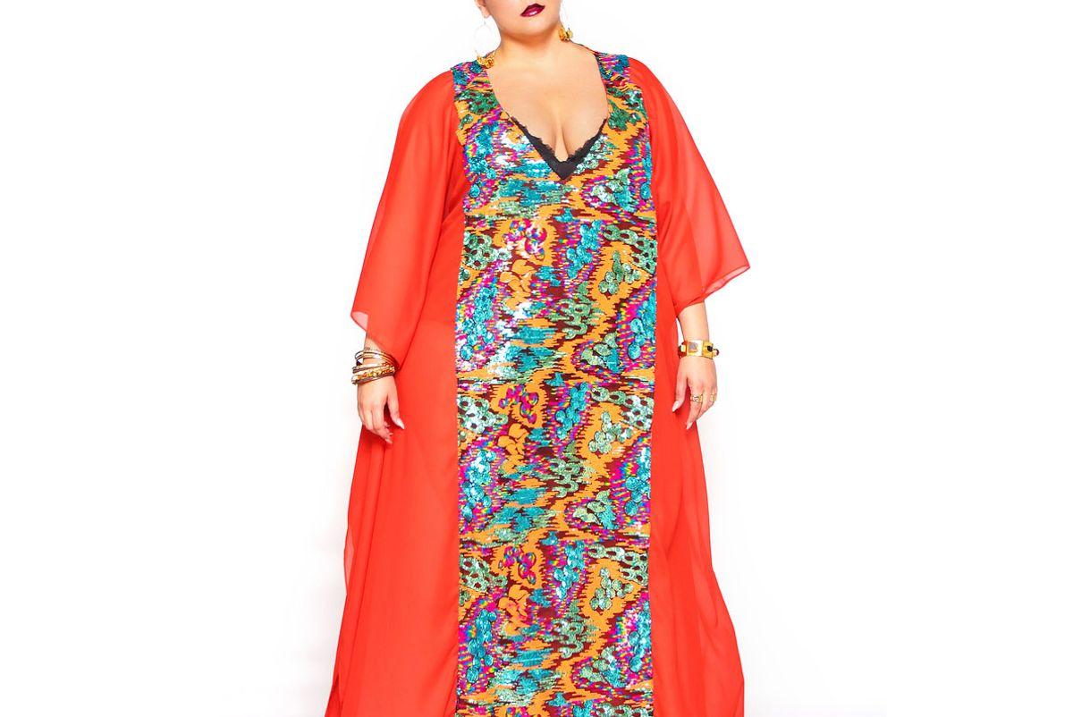 Orange Sequin Embellished Maxi Kaftan