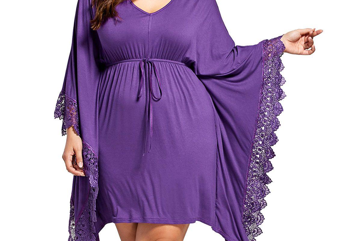 Plus Size Lace Panel Butterfly Sleeve Kaftan Dress
