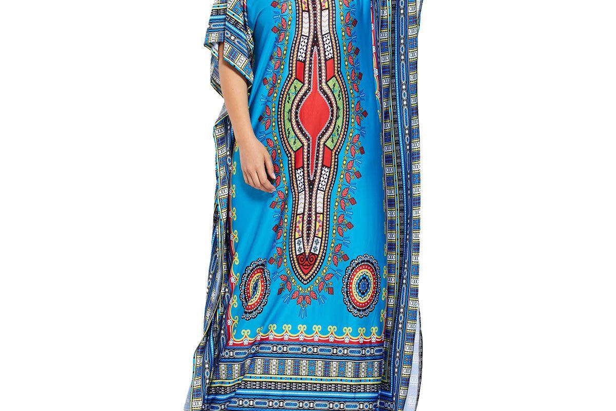 Tribal V Neck Plus Size Long Kaftan Dress