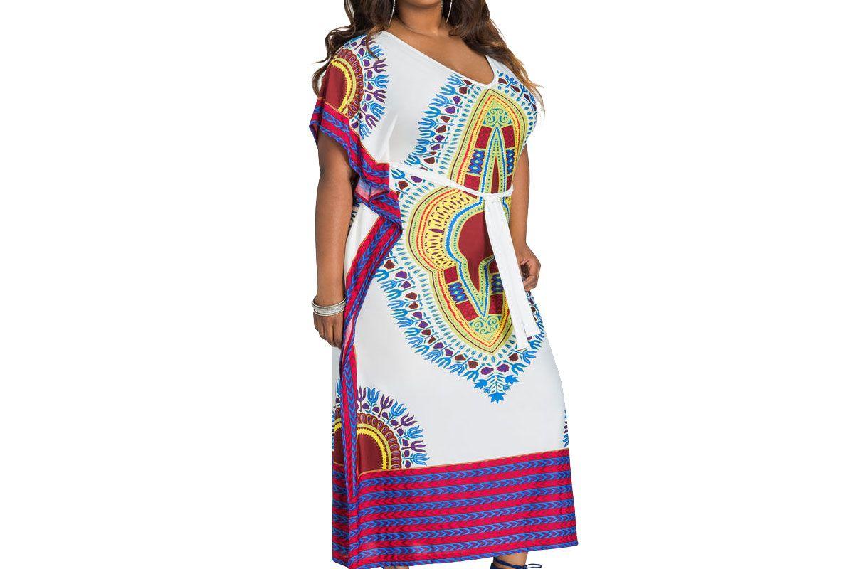 Flutter Sleeve Belted Dashiki Kaftan Dress
