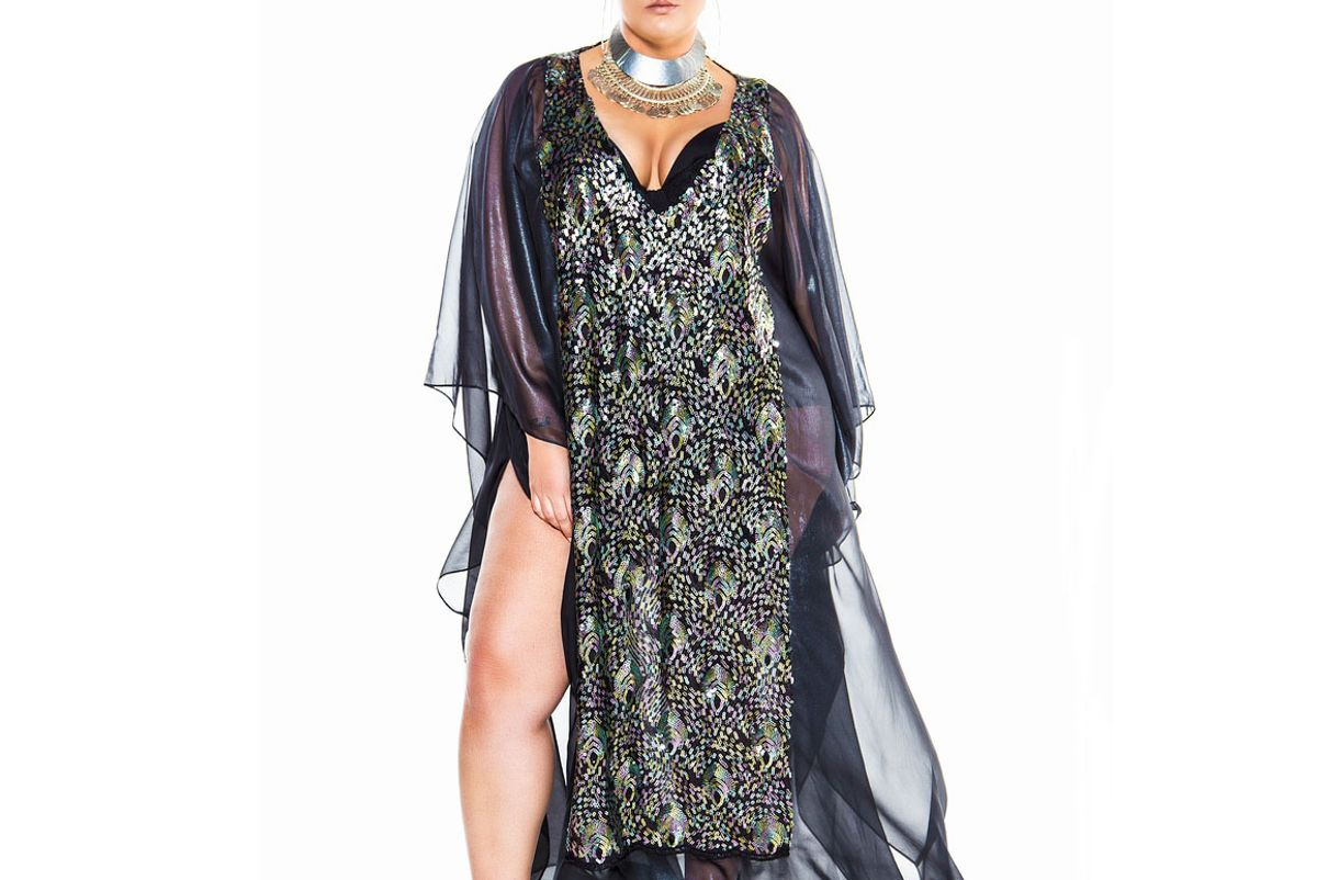 Black Sequin Embellished Maxi Kaftan With Back Detail