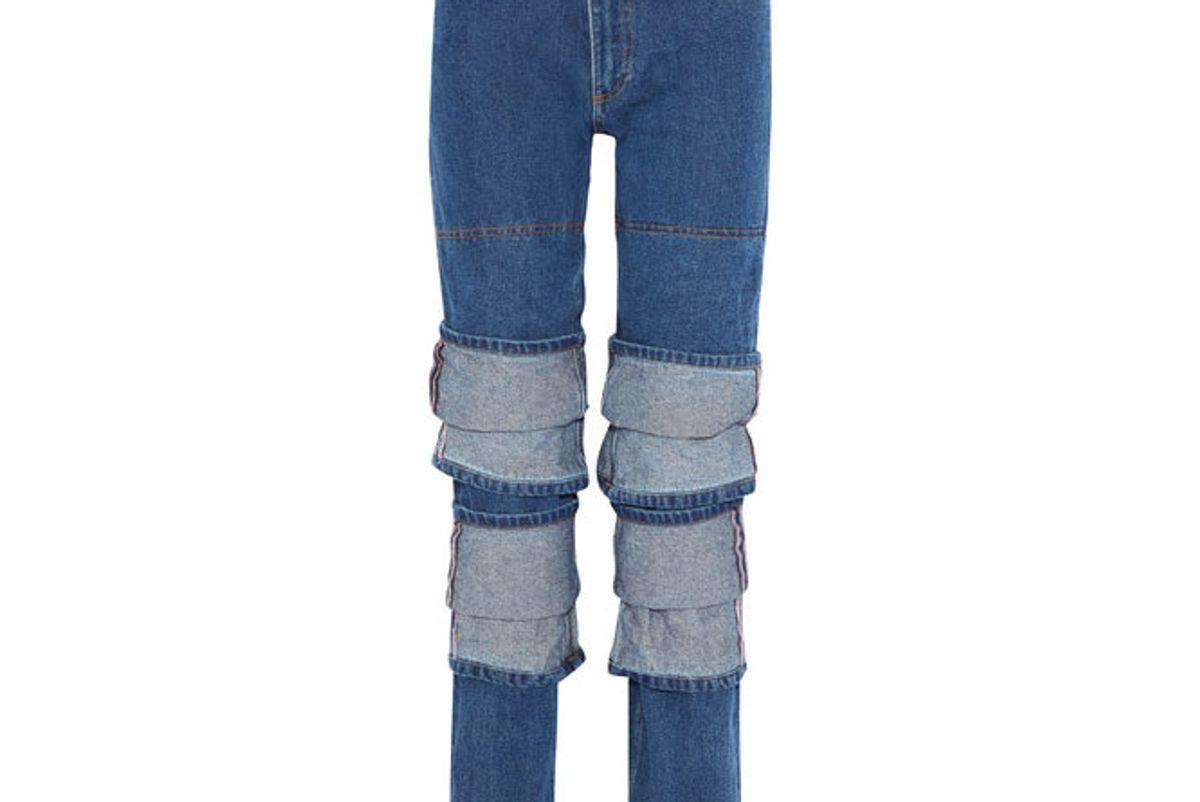 Layered high-rise straight-leg jeans