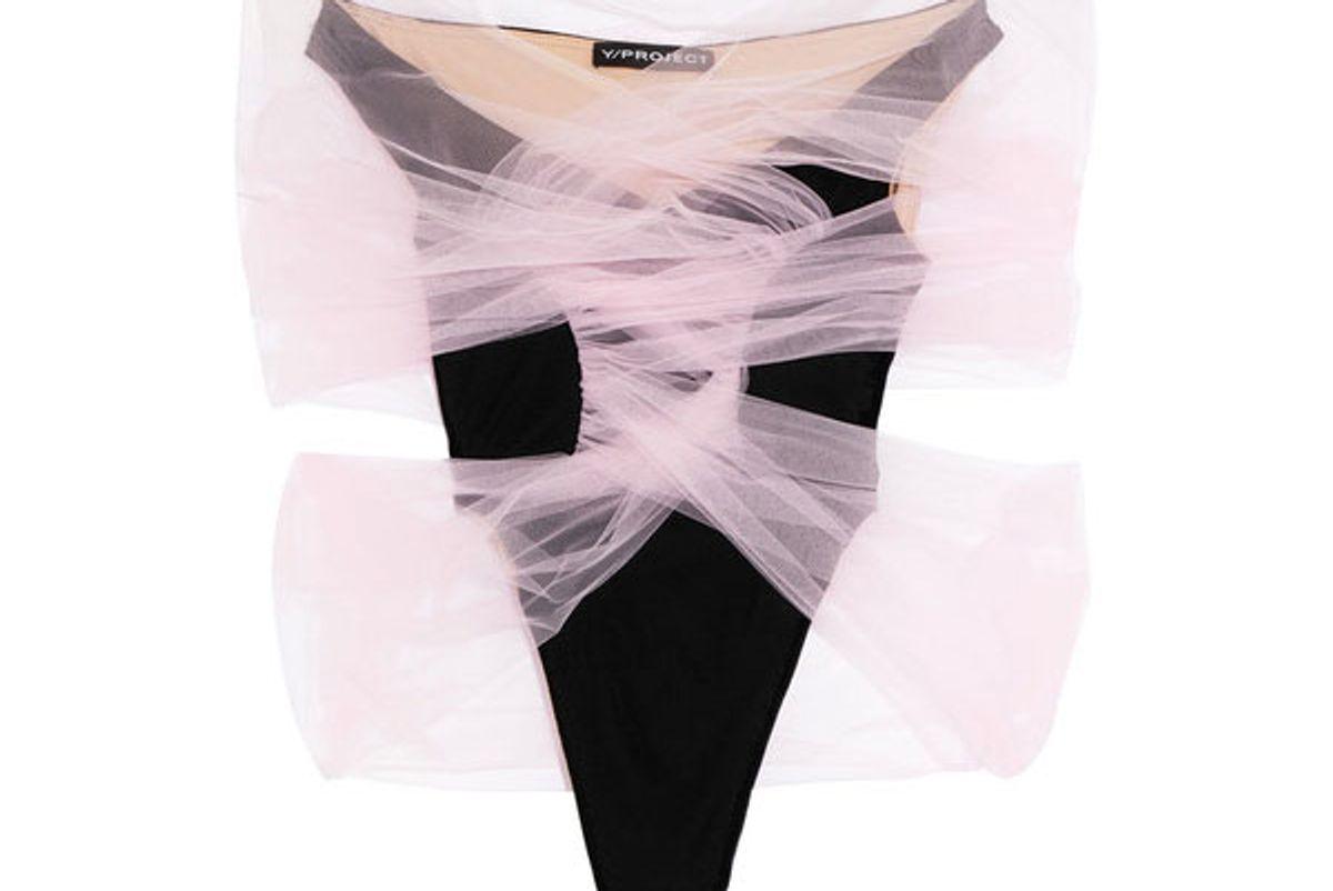 Tulle-wrapped velour bodysuit