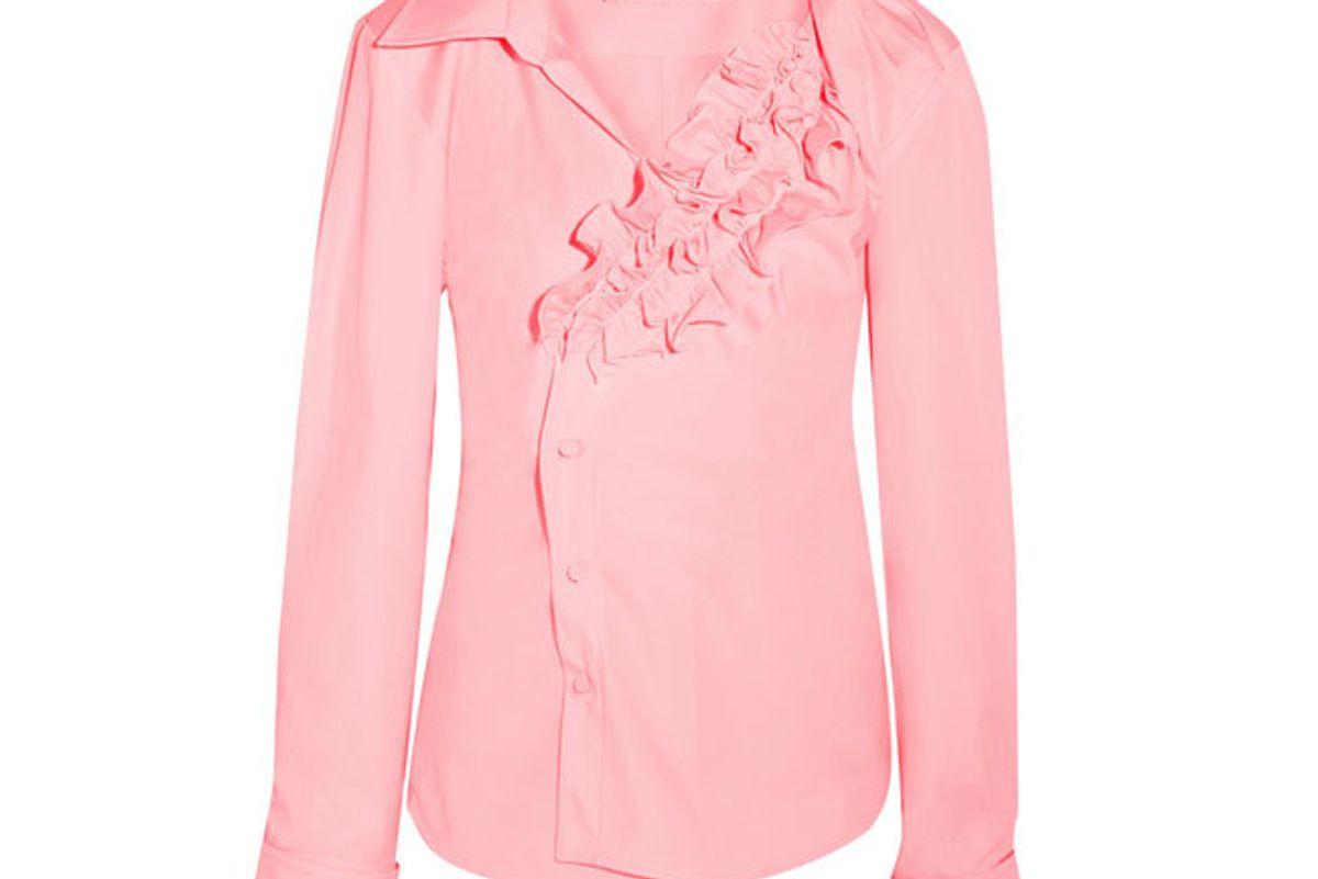 Seville ruffled cotton-poplin shirt